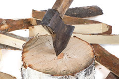 Image of axe in the stump and firewoods Royalty Free Stock Images
