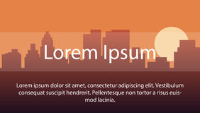 Image background with the silhouette of the city during sunset. layout for use in your work with space to place text Royalty Free Stock Photography