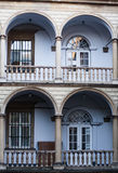 Image balconies, terraces with arches and columns in the Italian yard in Lviv, Ukraine. Italian courtyard. Lviv Ukraine Royalty Free Stock Photography