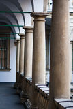Image balconies, terraces with arches and columns in the Italian yard in Lviv, Ukraine. Italian courtyard. Lviv Ukraine Stock Image