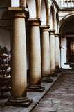 Image balconies, terraces with arches and columns in the Italian yard in Lviv, Ukraine. Italian courtyard. Lviv Ukraine Royalty Free Stock Images