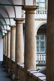 Image balconies, terraces with arches and columns in the Italian yard in Lviv, Ukraine Royalty Free Stock Photography