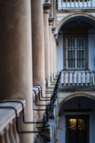 Image balconies, terraces with arches and columns in the Italian yard in Lviv, Ukraine Stock Image