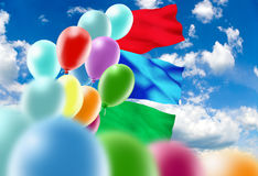 Image of of balloons in the sky close-up Stock Photo
