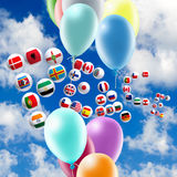 Image of balloons and stylized flags in the sky. Close-up Royalty Free Stock Images