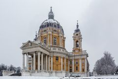 Image of the Basilica of Superga Turin in winter. Image of the Basilica of Superga Turin in winter, Piedmont, Italy Stock Photo