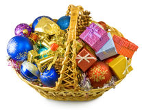 Image baskets with Christmas decorations Royalty Free Stock Images