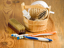 Image of bath accessories on the wooden table close-up Stock Image