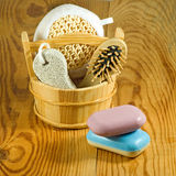 Image of bath accessories on the wooden table closeup Stock Images