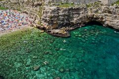 The colors of the Polignano beach. royalty free stock photography
