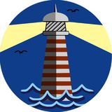 Image of the beacon on a colored background. Silhouette of a lighthouse on a blue background royalty free illustration