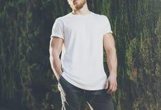 Image Bearded Muscular Man Wearing White Blank t-shirt. Green City Garden Background at sunset. Horizontal Mockup Royalty Free Stock Photo