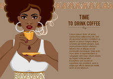 Image of a beautiful African American young woman with a fragrant cup of coffee. Stock Images