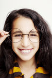 Image of a beautiful African girl wearing glasses. stock images