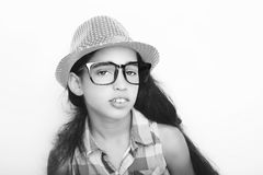 Image of a beautiful African young girl wearing glasses and hat. Image of a beautiful African young girl wearing glasses and hat Stock Image