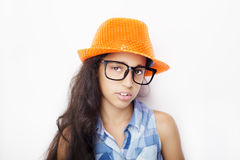 Image of a beautiful African young girl wearing glasses and hat Royalty Free Stock Images