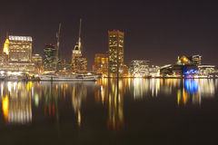 Image of beautiful Baltimore Maryland cityscape. Skyline reflection. A view of Baltimore, Maryland cityscape overlooking the Inner Harbor and Patapsco River stock image
