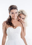 Image of beautiful brides having fun in studio Royalty Free Stock Photography