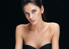 Image with beautiful brunette girl on black background. Royalty Free Stock Image