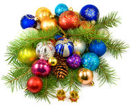 Image of a beautiful Christmas tree decorations on a white background closeup Royalty Free Stock Images