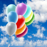 Image of beautiful colorful balloons on sky background. Royalty Free Stock Photography