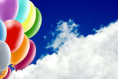 Image of beautiful colorful balloons on sky background. Stock Photography