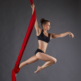 Image of beautiful dance performer on aerial silks. Studio photo of beautiful dance performer on aerial silks Royalty Free Stock Images