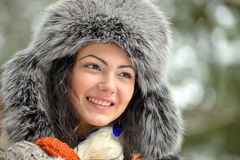 Image of beautiful female in luxurious fur head cloth Royalty Free Stock Photography