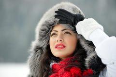 Image of beautiful female in luxurious fur head cloth Stock Photo