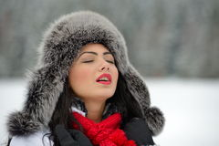 Image of beautiful female in luxurious fur head cloth Royalty Free Stock Photo