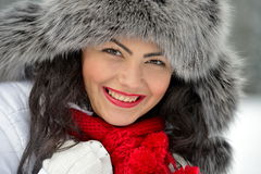 Image of beautiful female in luxurious fur head cloth Royalty Free Stock Image