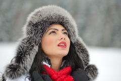 Image of beautiful female in luxurious fur head cloth Stock Image