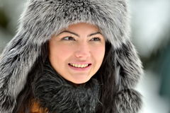 Image of beautiful female in luxurious fur head cloth Stock Photos