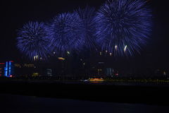 An image of a beautiful fireworks at Hunan CHangsha (China). Fireworks every Saturday at HuNan Changsha (china), From May 1st to October 31, with blue colored Stock Image