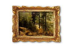 Image of beautiful forest in wooden painting frame Royalty Free Stock Images