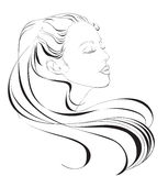 Image of beautiful girl with long hair in sketch style. Royalty Free Stock Photos