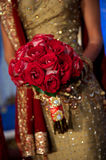 Image of a beautiful Indian bride's bouquet. During wedding Stock Images
