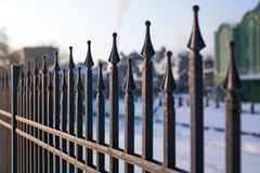 Image of a beautiful iron fence. Metal guardrail close up.  Royalty Free Stock Images