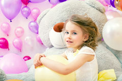 Image of beautiful little model posing in playroom Royalty Free Stock Images