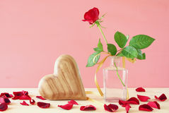 Image of beautiful one red rose in the vase Royalty Free Stock Photos