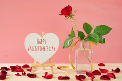 Image of beautiful one red rose in the vase Stock Photos