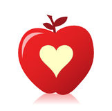 Image of a beautiful red apple with a heart Stock Photo