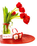 Red tulips with gift box Royalty Free Stock Image