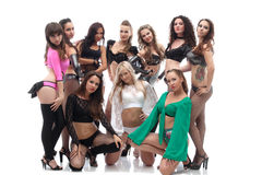 Image of beautiful slender go-go dancers Royalty Free Stock Photos