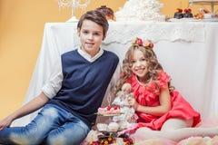 Image of beautiful smart kids posing in studio Royalty Free Stock Photography