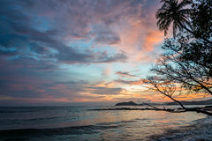 Image of beautiful sunset sky with the beauty beach from Koh Mak Royalty Free Stock Photo