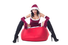 Image of beautiful woman dressed as Santa Claus Stock Photo