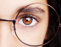 Image of a beautiful young girl wearing glasses. royalty free stock photos