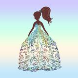 The image of a beauty in a Colored dress, drawn with lines with. Curls, exquisite pattern Royalty Free Stock Photos