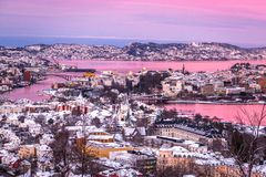 Winter City Scenery with Aerial View of Bergen Center at Pink Dawn